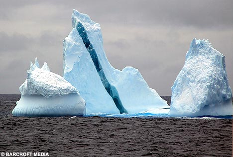 iceberg, one blue stripe