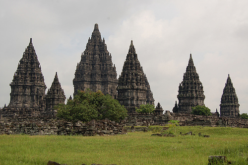 Six of Prambanan's eight main shrines, Java, Indonesia.  By kashikar on flickr
