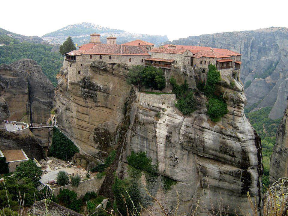 Meteora on the Greek mainland, collection of six monasteries sitting atop limestone rocks many centuries ago.