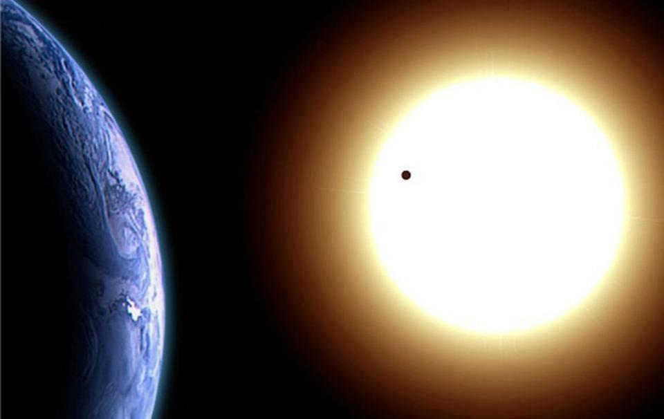 Earth, sun and moon from space