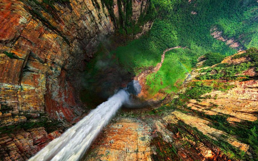 Dragon Falls are part of the Angel Falls, Venezuela. 