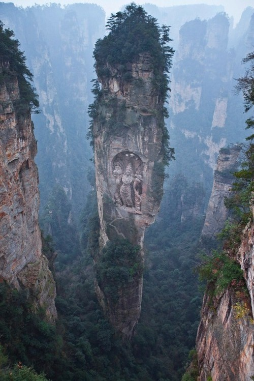 Hallelujah Mountains, China.  Note carving in the rock.