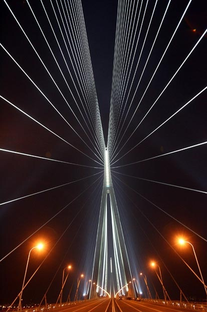 The Sutong Yangtze River Bridge is a cable-stayed bridge with the longest main span in the world (1,088 metres (3,570 ft). It spans the Yangtze River in China between Nantong and Changshu.