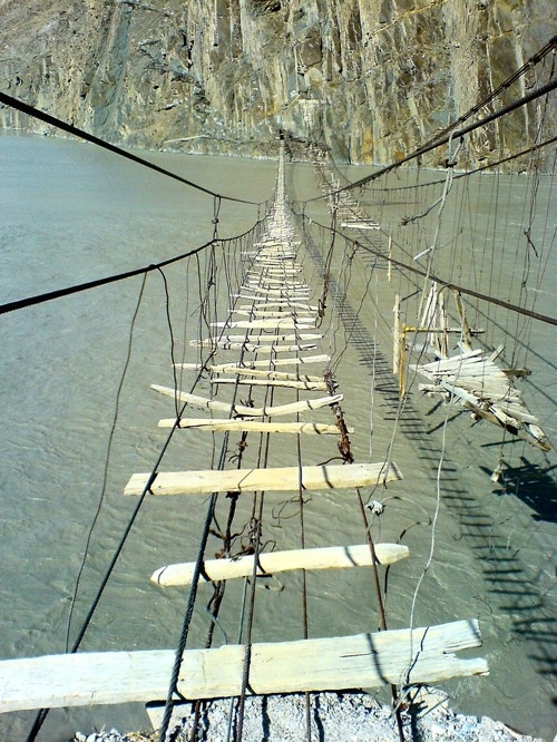 I know why no one's crossing this bridge.  Hunza River, Pakistan