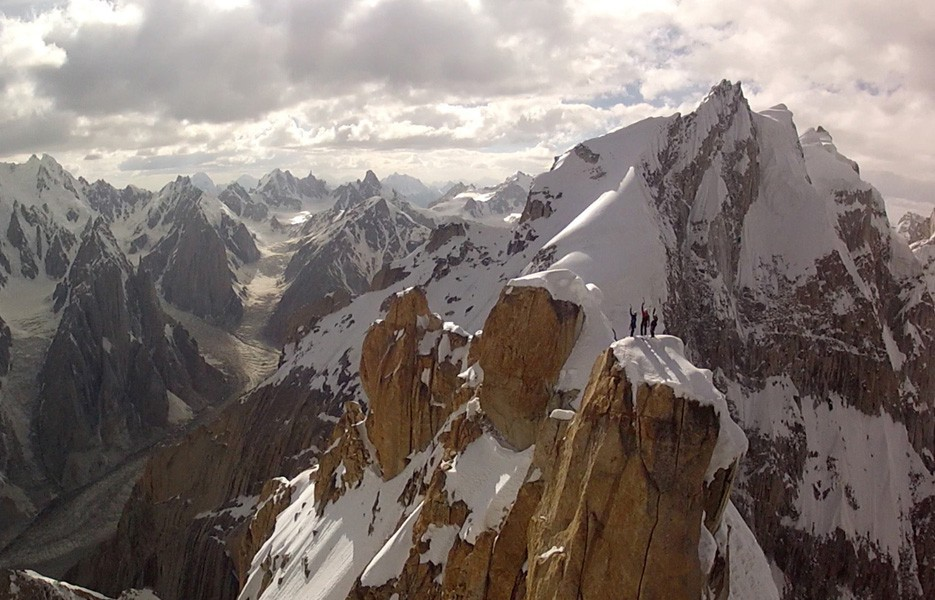 Trango Summit in northern Pakistan's Karakoram range was taken from a camera mounted to a remote-controlled helicopter -- a drone