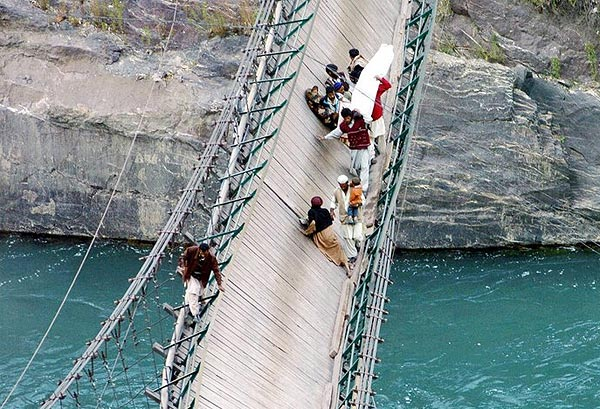 I think these poor people had to brave this bridge.