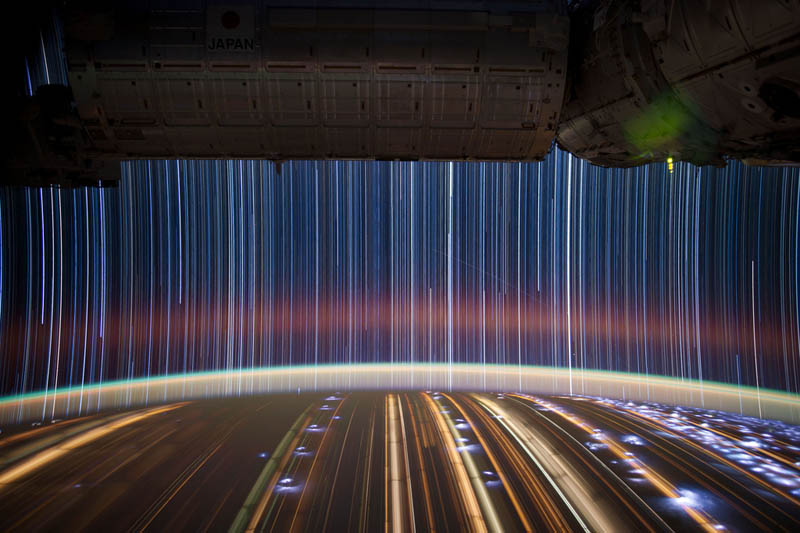 long and short, ISS star trails