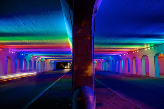 Using a neglected street underpass in downtown Birmingham, Alabama, artist Bill Fitzgibbons created an installation controlled by a computerized LED light system. -