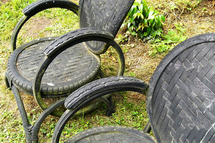 bike tire chair