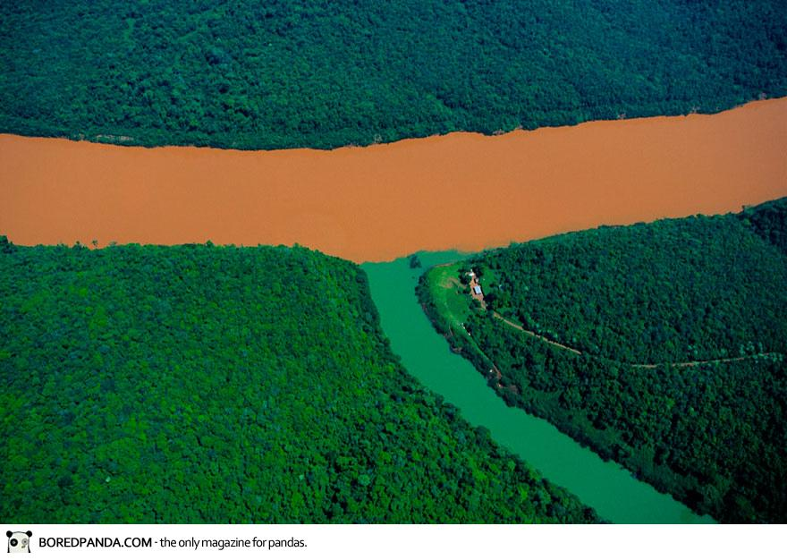 Confluence of the Rio Uruguay and a Tributary, Misiones Province, Argentina.  Guess which river is downstream from logging.