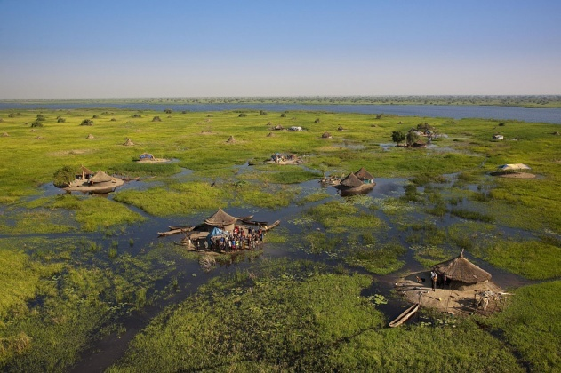 Village in the swamps of the White Nile near Bor, Jonglei, South Sudan