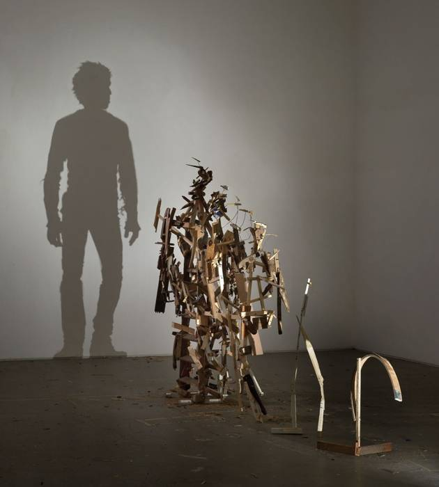 human ingen, 1 wooden stepladder, and discarded wood Tim_Noble_Sue_Webster_shadow_sculpture_4-normal