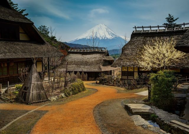Mount Fuji from the village of Saiko, Japan