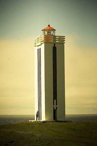 Art deco-style lighthouse in Kálfshamarsvík, Iceland, by Vilhjálmur Ingi Vilhjálmsson.