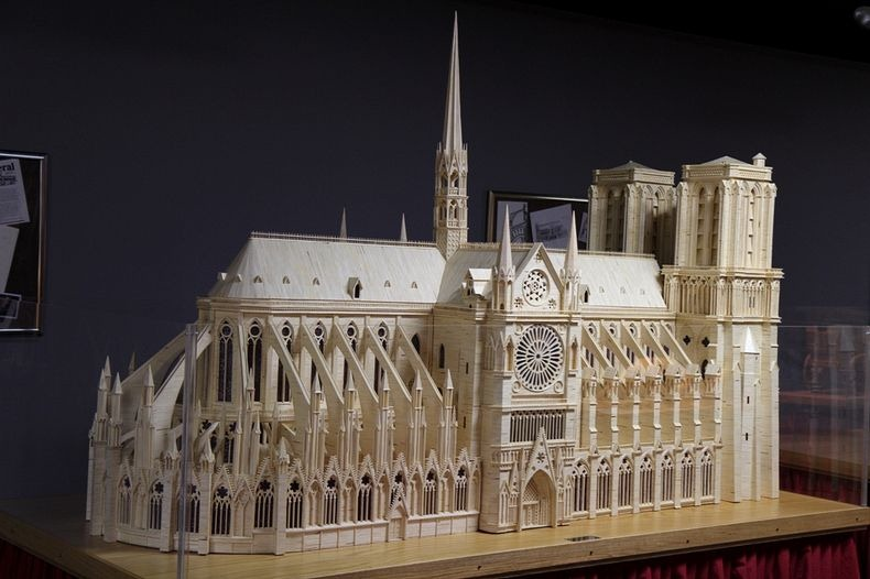 Patrick Acton used 298,000 matchsticks, and 2000 toothpicks and a whopping 55 litres of wood glue to assemble this replica of the Notre Dame Cathedral