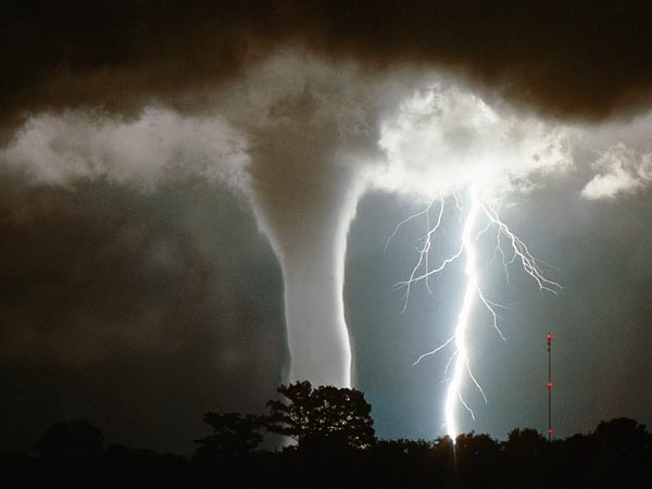 Waterspout and lightning over Lake Okeechobee, Florida.