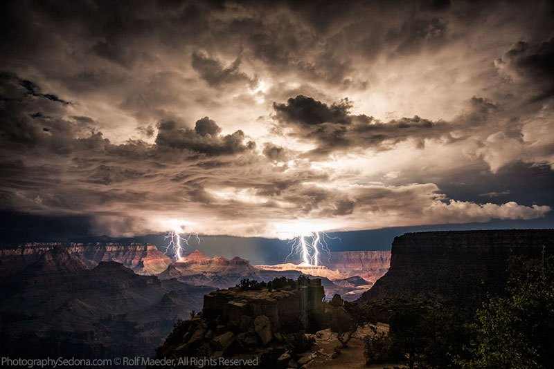 Grand Canyon lightning storm By Rolf Maeder