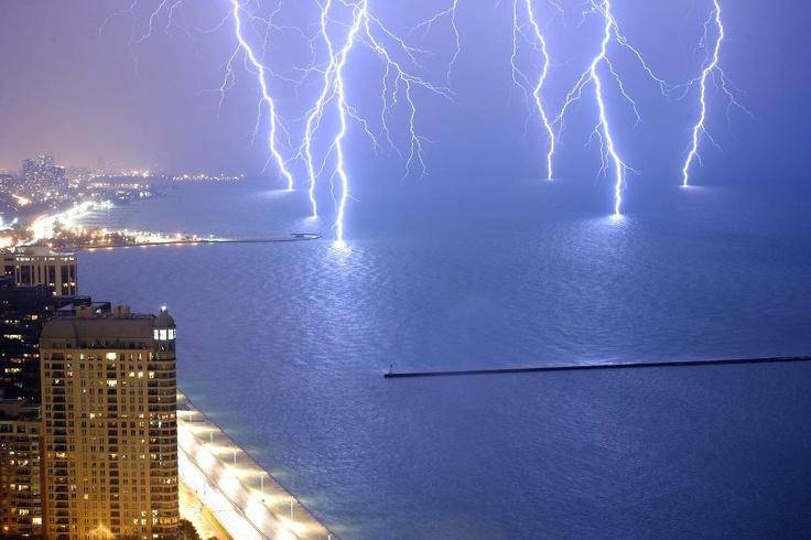 Long exposure image of lightning on Lake Michigan