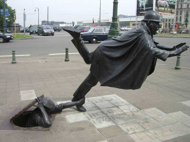 Policeman Being Tripped, Brussels, Belgium