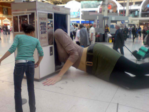 Giant Woman Lying in a Photo Booth, London, England