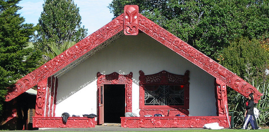 Maori meeting house, New Zealand