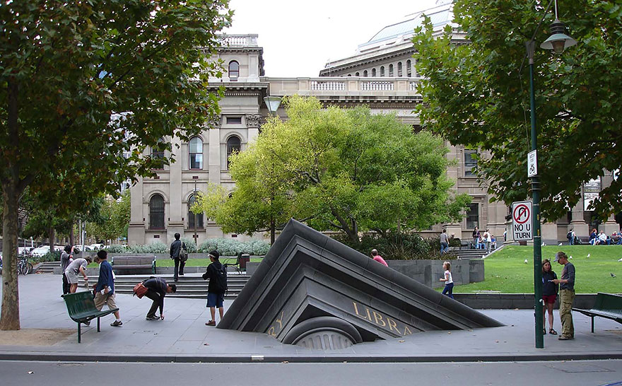 Sinking Building Outside State Library, Melbourne, Australia.