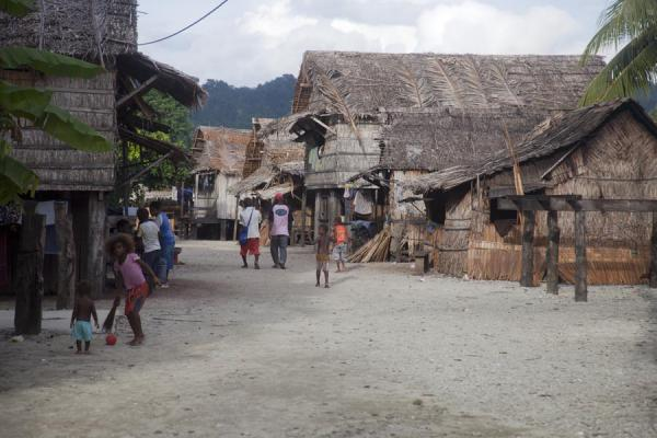 Typical houses on stilts lining the main street of Lilisiana, Solomon Islands