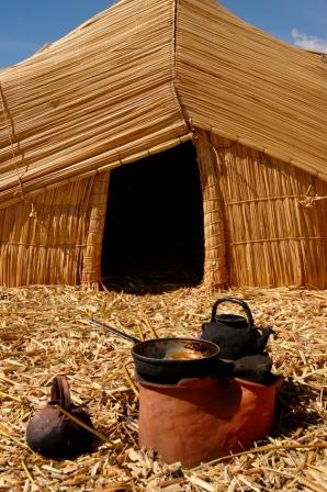 "Uru homes are made using ""totora"" reeds that grow along the shores of Lake Titicaca, Bolivia"