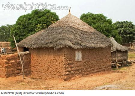 Village houses and compound Mognori Village Community, Northern Ghana showing vernacular architecture with patterned mud walls