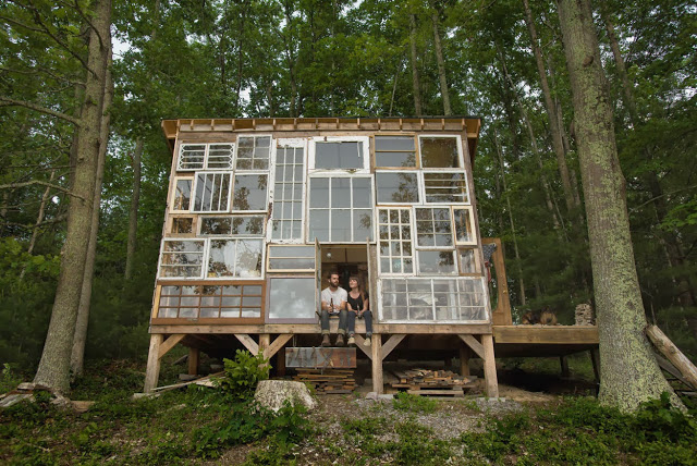 House of recycled windows made for $500, West Virginia, USA