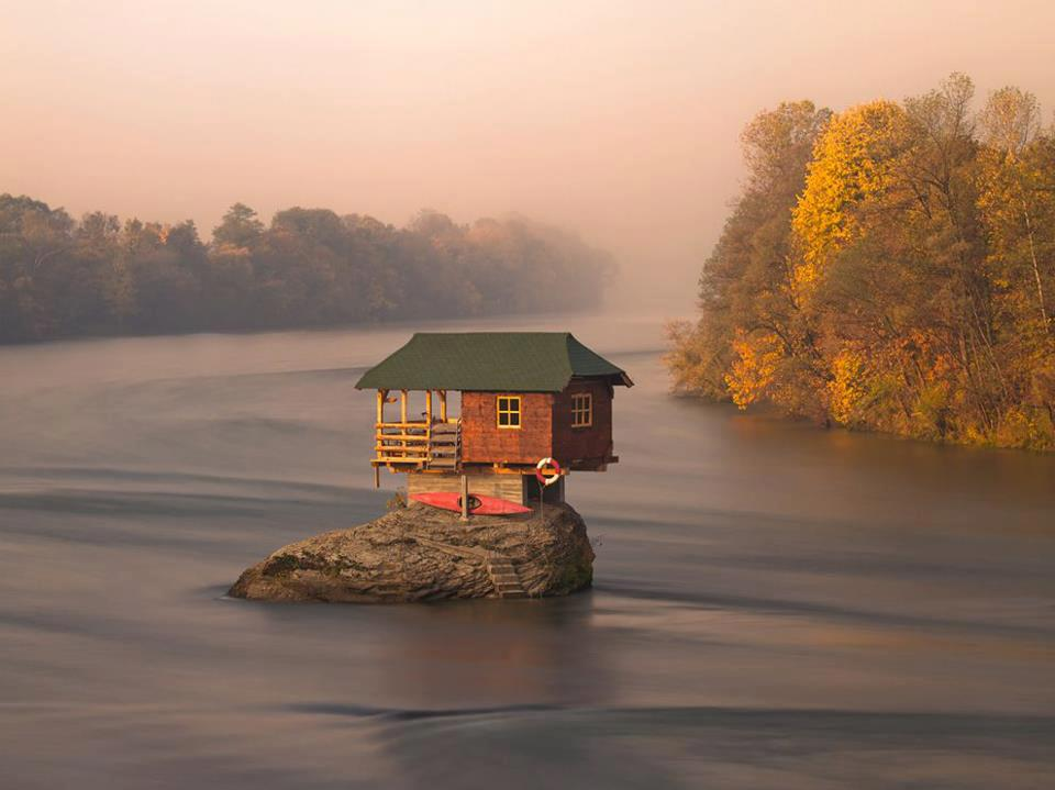 The Drina River near the town of Bajina Basta, Serbia