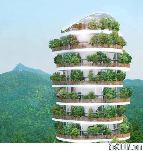 'The Canopy' Tower, Hong Kong.  Note the floors are a spiral.