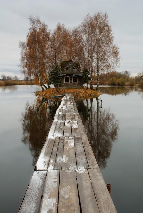 houses, lake