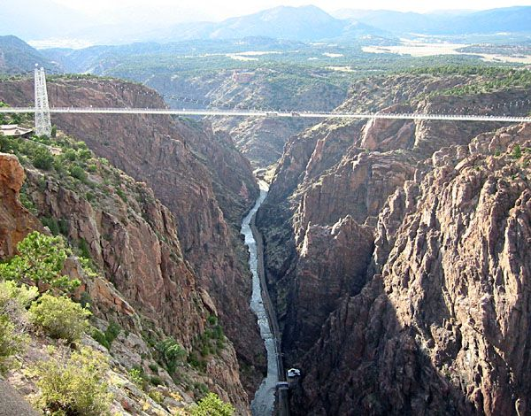 Royal Gorge Bridge, Colorado.  The world's highest suspension bridge which spans the Arkansas River at a height of 1053 feet.
