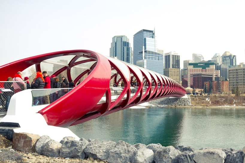 The 'peace bridge' by Valencian architect and engineer Santiago Calatrava, spanning the bow river in Calgary, Canada.