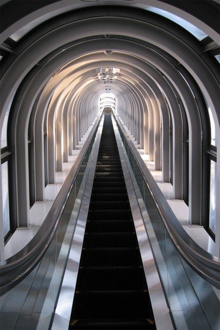 Escalator in Umeda Sky Building, Osaka City, Japan