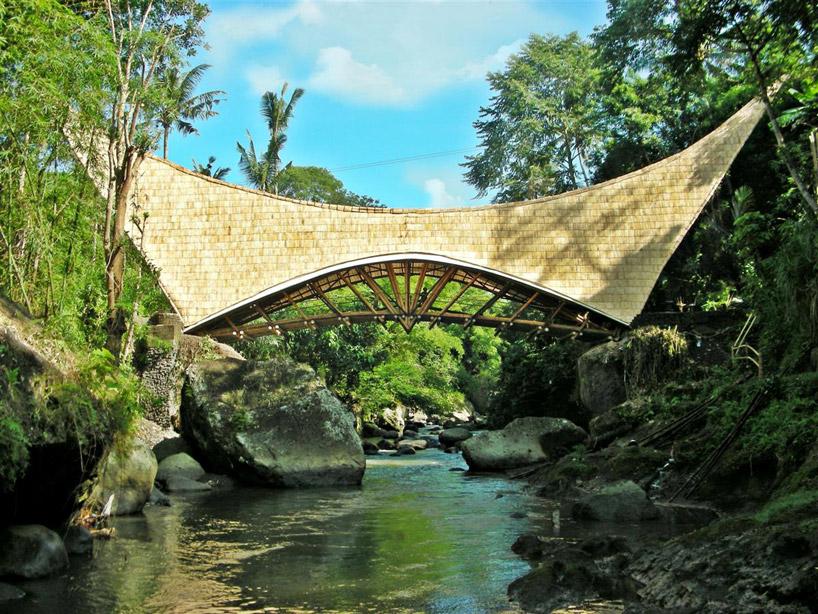 Millenium bridge' of bamboo, Bali, Indonesia.