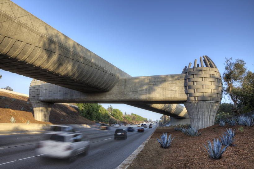 The 'gold line bridge' is the first mass transit crossing in California to be designed by an artist (assuming none of the architects of the other bridges count as artists.)