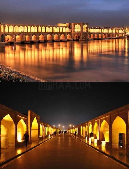 The Khaju Bridge, Pol-e-Khajoo, in Isfahan, Iran, was built in the 17th century by Shah Abbas II.  The bridge is also a dam, with sluice gates under the archways.