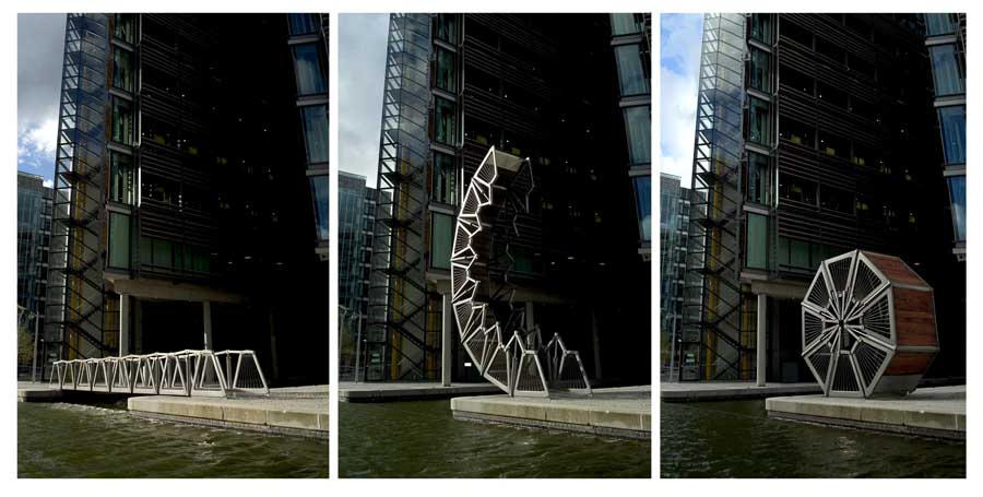 rollingbridge, Built to let canal boats pass, The rolling bridge unfurls every day at noon, London, England