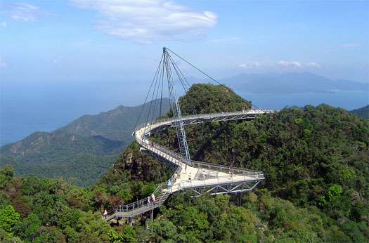 Skybridge, built on the island of Pulau in the Langkawi Archipelago , this cross between a bridge and an observation deck affords fantastic views of the Andaman Sea.  It stands 700 metres.