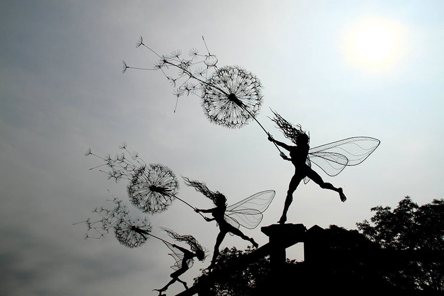 Wire fairy sculptures by Britains' Robin-Wight