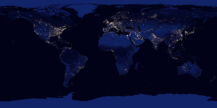 This image of Earth at night is a composite assembled from data acquired by the Suomi National Polar-orbiting Partnership satellite over nine days in April 2012 and thirteen days in October 2012. It took 312 orbits and 2.5 terabytes of data to get a clear shot of every parcel of Earth's land surface and islands.
