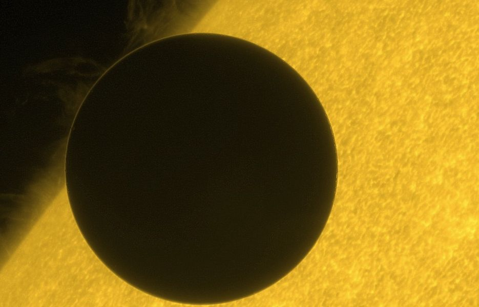 Venus crossing the sun from the Hinode spacecraft.