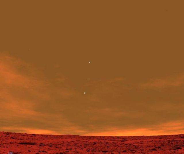 Earth, Jupiter, and Venus seen from Mars.