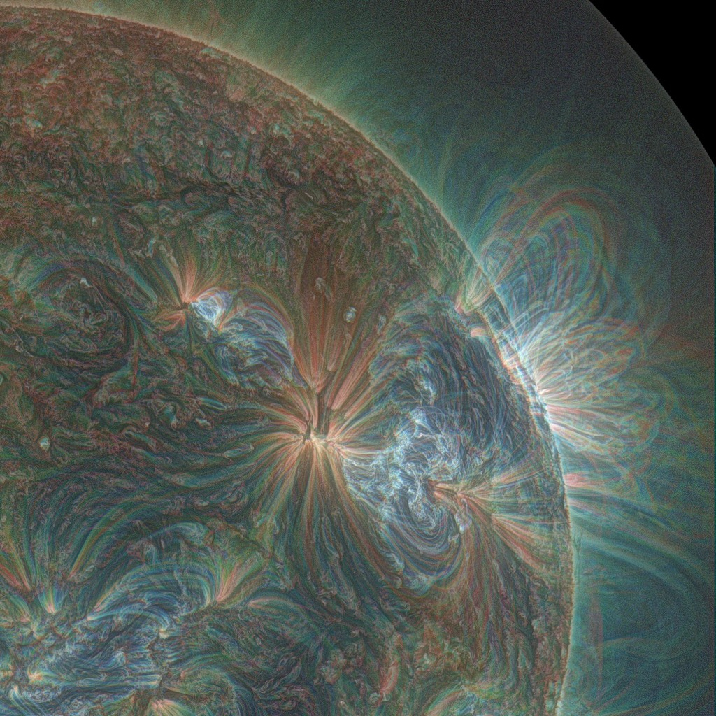 This psychedelic-looking composite image of the sun taken by NASA's Solar Dynamics Observatory (Little SDO) shows a series of significant solar eruptions that occurred over a period of three days in January of 2013. The photo was created using three wavelengths of light that have been colorized in red, green, and blue to better show the dynamics of each eruption.