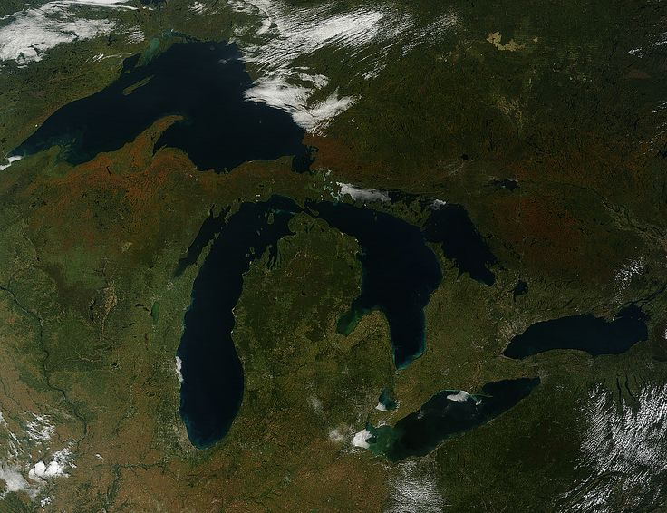 The Great Lakes and the state of MIchigan, USA, by Nasa satellite via Robert Jacobs on pinterest