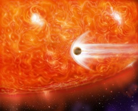 A red giant devours its own planet as the dying star expands.