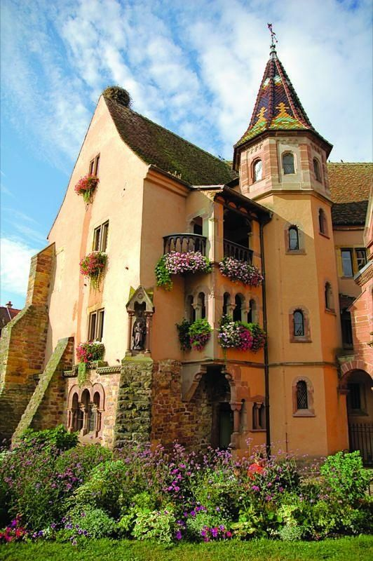 Eguisheim, a German-speaking commune in Alsace in north-eastern France. Eguisheim produces Alsace wine of high quality.