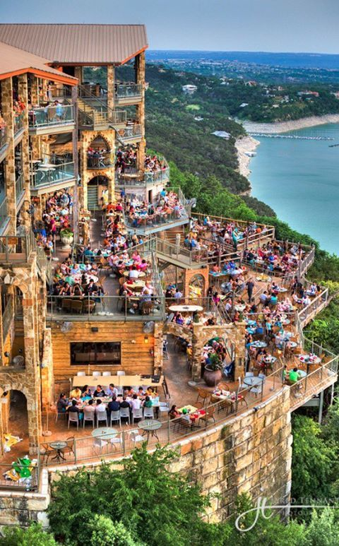 The Oasis restaurant on Lake Travis, Austin,Texas, US